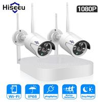 Hiseeu 4 Channel 1080p NVR Kit Wireless CCTV Security System 2pcs 2MP WIFI IP Cameras Outdoor Indoor Home Surveillance Cam