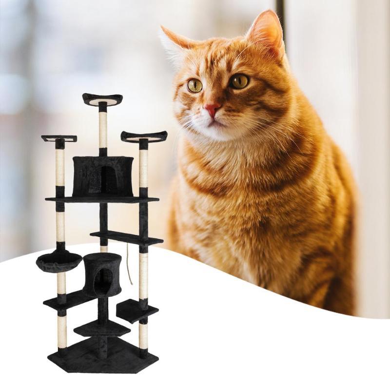 80 pouces Sisal naturel corde chat escalade arbre jouet chats chaton sautant debout cadre Post meubles chat jouets fournitures pour animaux de compagnie