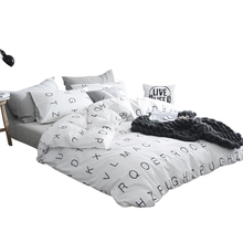 simple 100% cotton The letter printing duvet cover pillowcase 3pcs black and white bedding set
