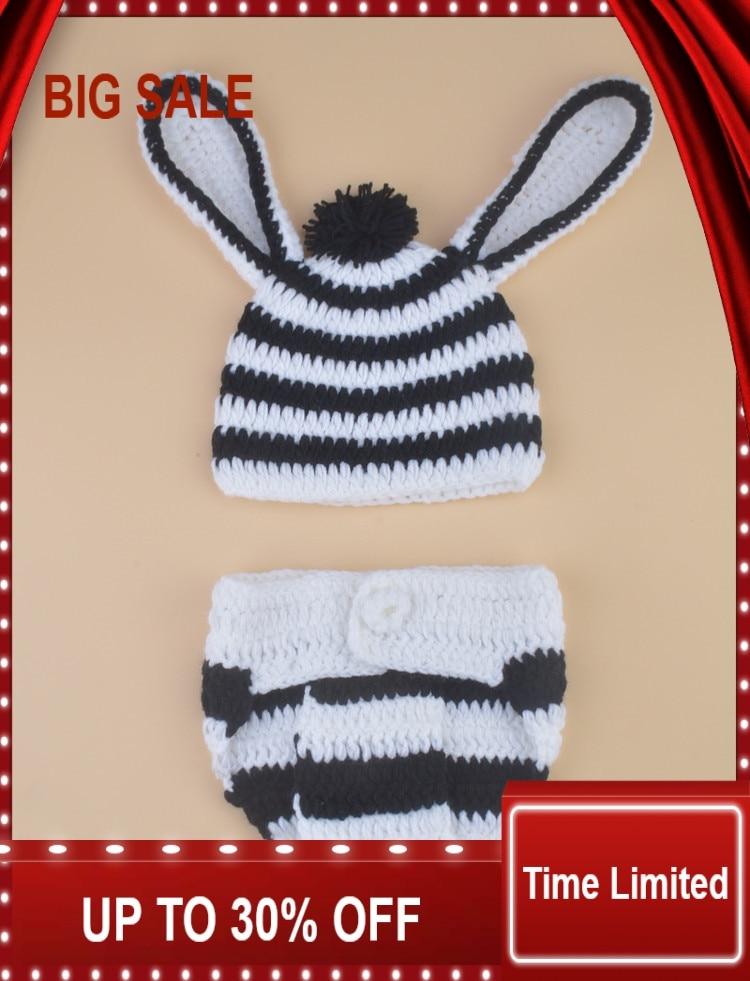 Nouveau Crochet bébé garçon zèbre chapeau et couche ensemble tricoté infantile bébé Costume accessoires de photographie 1 ensemble