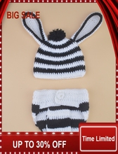 New Crochet Baby Boy zebra Hat&Diaper  Set Knitted Infant Baby  Costume Photography Props 1set crochet butterfly shape photography costume set for baby