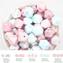 Chenkai 100PCS 14mm Silicone Hexagon Teether Beads DIY Baby Chewing Pacifier Dummy Sensory Jewelry Toy Making