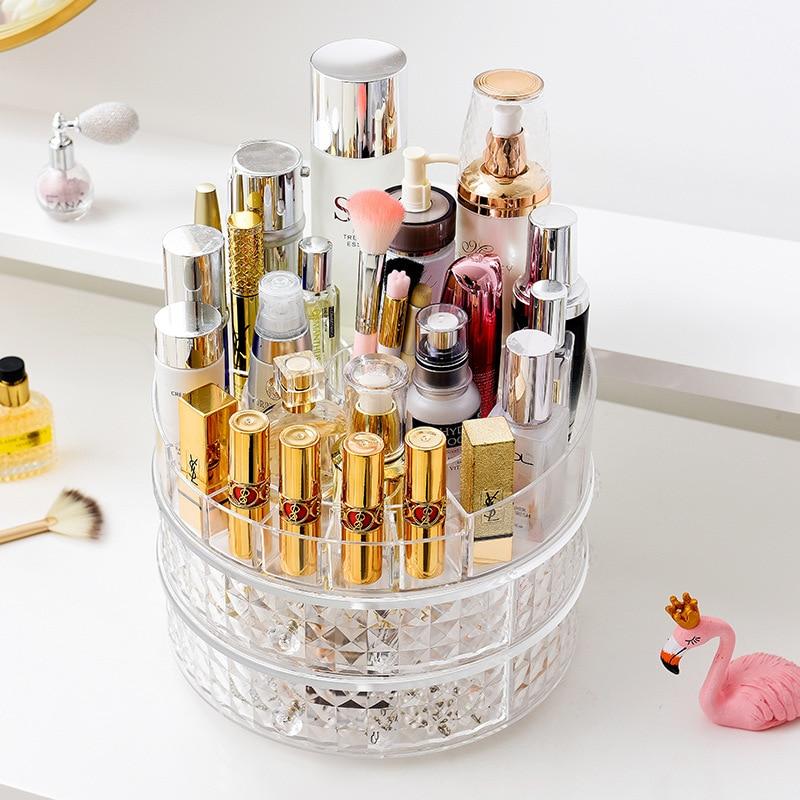 New Large Capacity Rotating Makeup Organizer Gorgeous Diamond Pattern Multipurpose Cosmetics Storage Holder Rack with Drawers