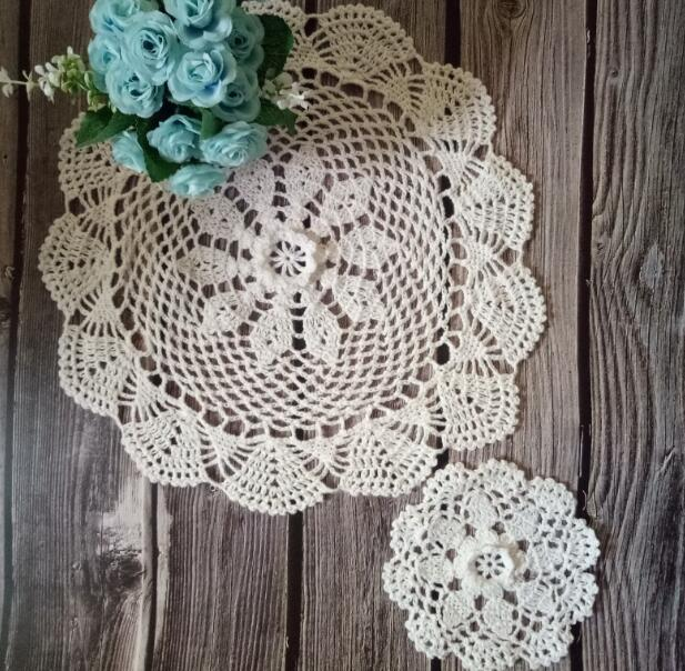 Pastoral Cotton Lace Crochet 3D Flowers Dining Doily Mantel Individual Table Glass Coffee Coaser Cup Coffee Mat Placemat Decor in Mats Pads from Home Garden