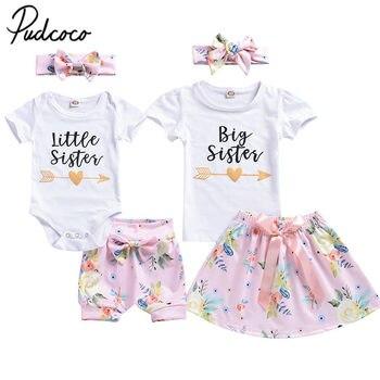 13d099344 Bebé recién nacido niños niña ropa verano conjunto traje de gran Camiseta  de hermana mayor