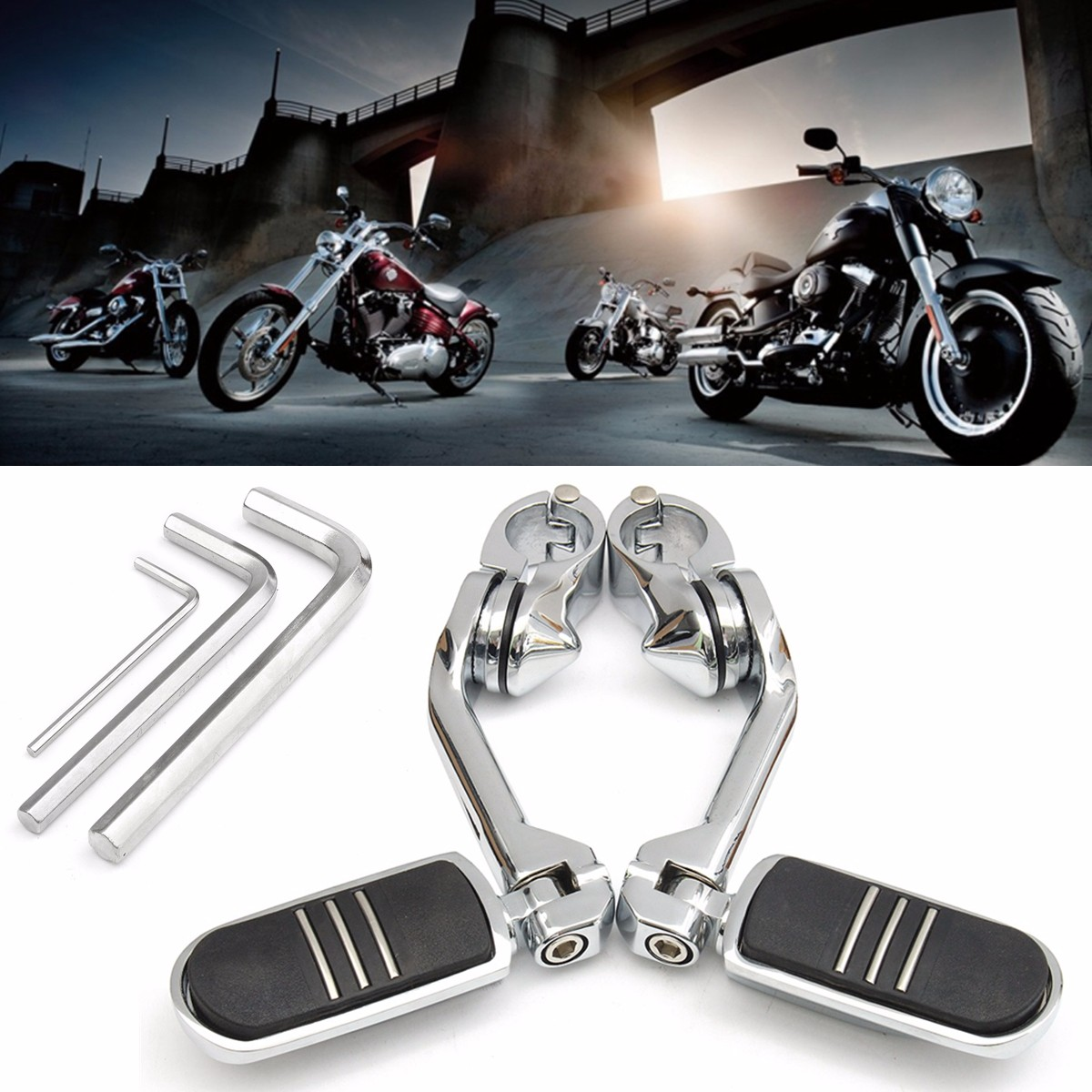Long Adjustable Chrome Rear Foot Peg Pedals  Footrest Mount For Harley Davidson with 3 Allen Keys 32mm 1.25 Long Adjustable Chrome Rear Foot Peg Pedals  Footrest Mount For Harley Davidson with 3 Allen Keys 32mm 1.25