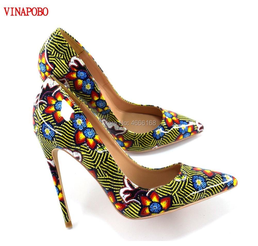 2019 Vinapobo Pointed Toe Slip On green Flower Graffiti Prints Pumps Fashion High Heels Party Wedding