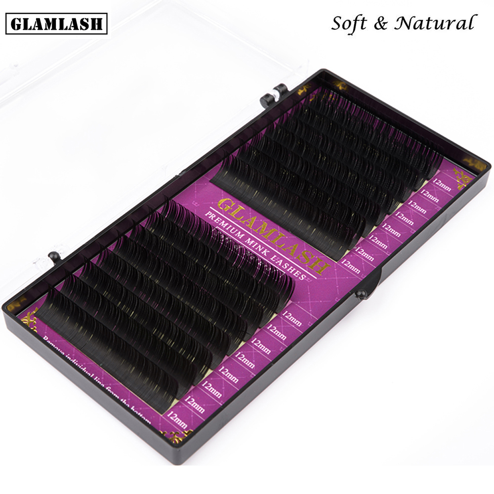 dd9a9e1e300 GLAMLASH 16Rows handmade korean pbt eyelash extension private label natural  soft faux mink eyelashes lashes for extension