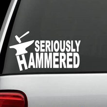 Seriously Hammered Decal Sticker Blacksmith Anvil Hammer Welder Helmet Art Vinyl