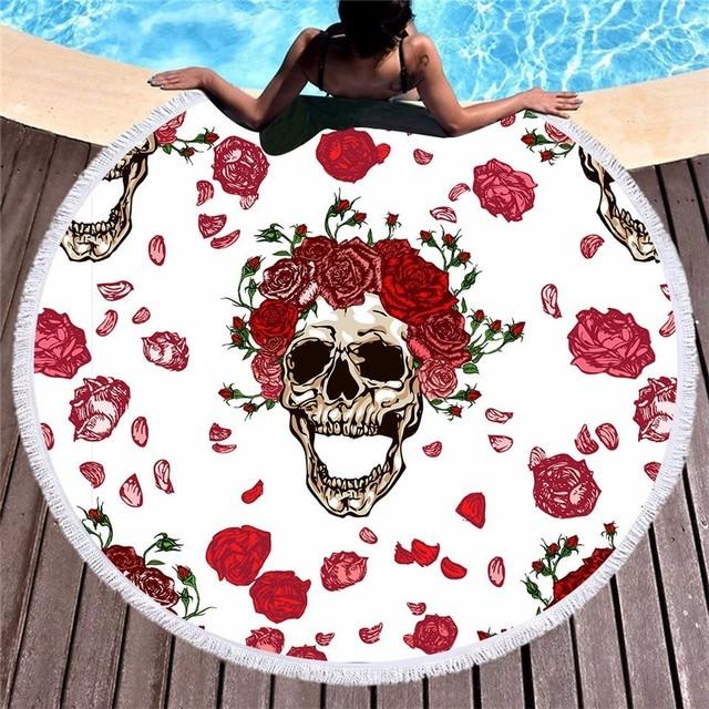 FLOWER SKULL ROUND BEACH TOWEL (4 VARIAN)