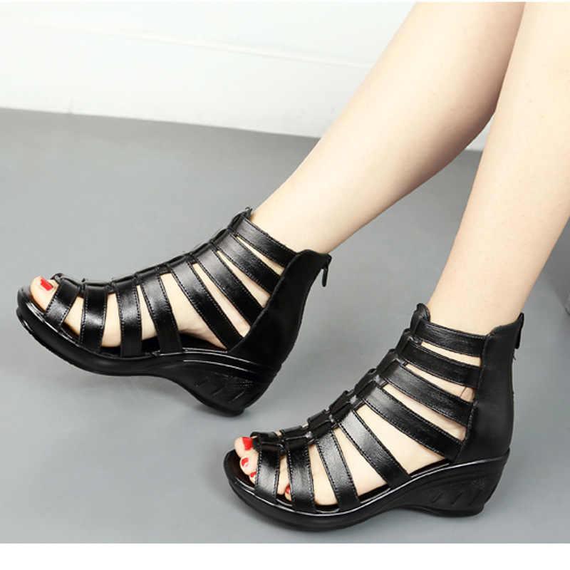 UPUPER oryginalne skórzane sandały gladiatorki damskie oddychające buty na lato kobieta czarne kliny damskie buty z zamkiem błyskawicznym obuwie damskie