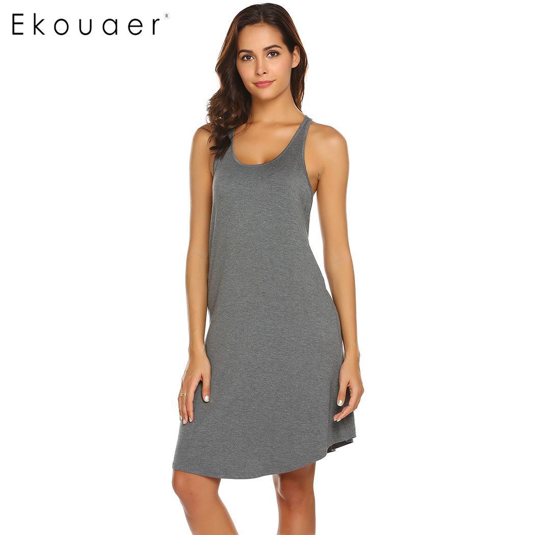 Ekouaer Women Summer Nightgown Chemise Sleepshirts Solid O-Neck Sleeveless A Line Loose Racerback Nightdress Sleepwear