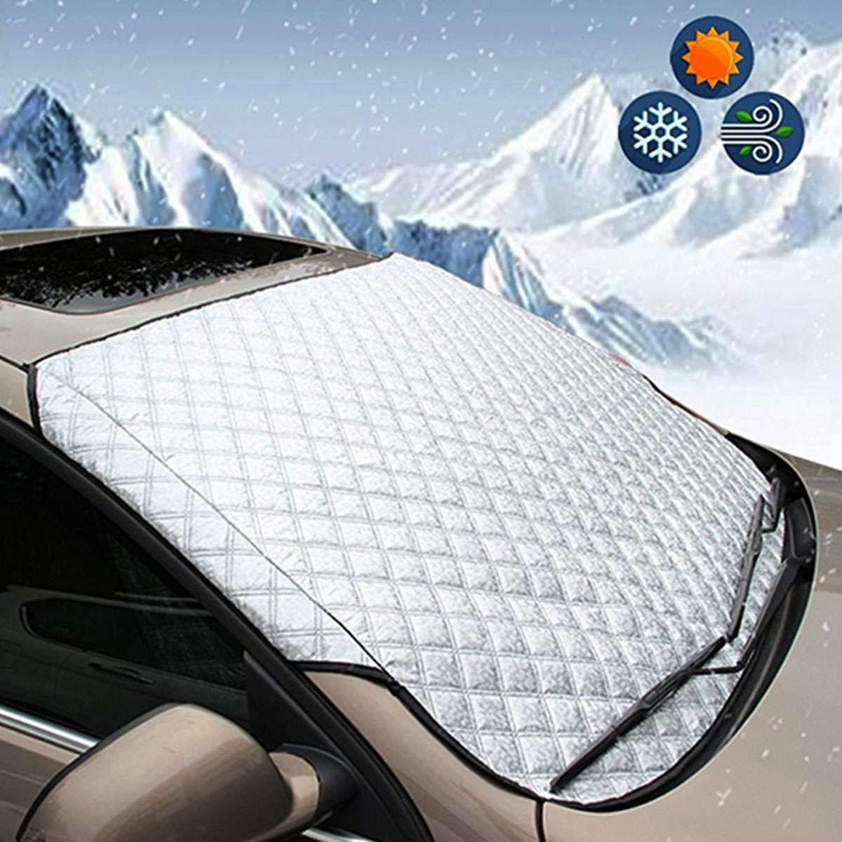 147*70 ซม.ฝาครอบกระจกรถยนต์หน้าต่างหน้าจอแสงแดด Frost ICE Snow Protector