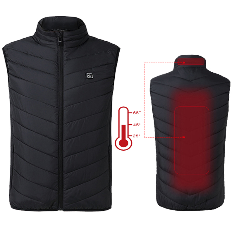 2019 New Mens Thermal Graphene Electric Heated Vest Men Outdoor Hiking Heating Cotton Waistcoat Warm Clothing