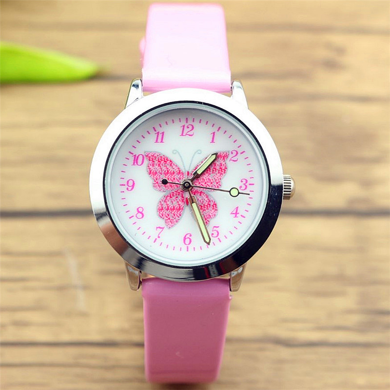 NAZEYT Kids Lovely Animals Simple Design Quartz Watch Boys And Girls Cute Butterfly Dial Learn To Time Leather Gift Clock