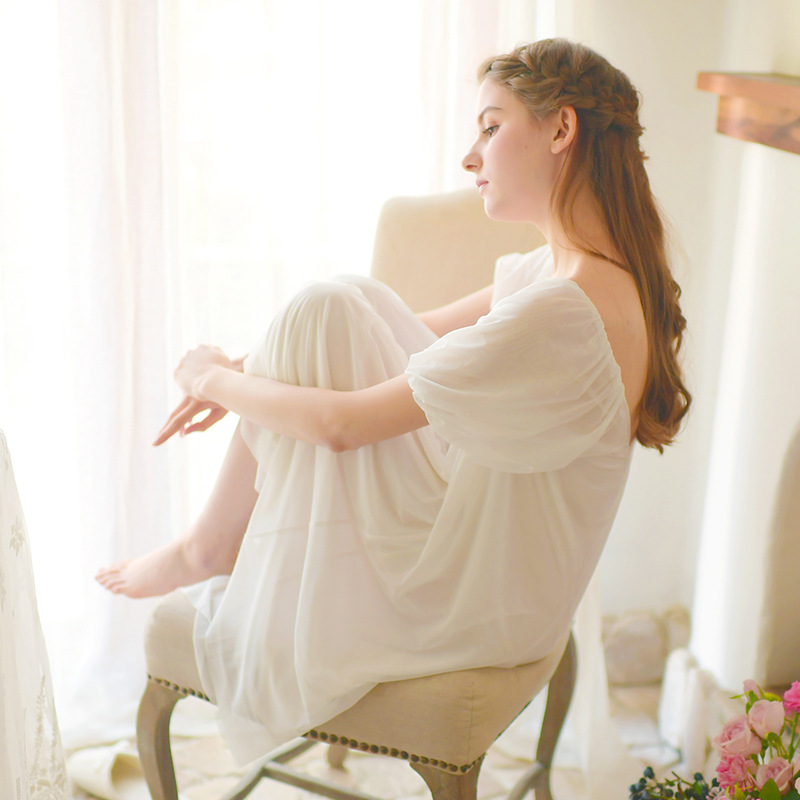 Summer Sweet Chest Button Dress Sexy   Nightgowns   Gauze   Sleepshirts   Palace Sleepwear Female Princess Women Dresses Home Clothing