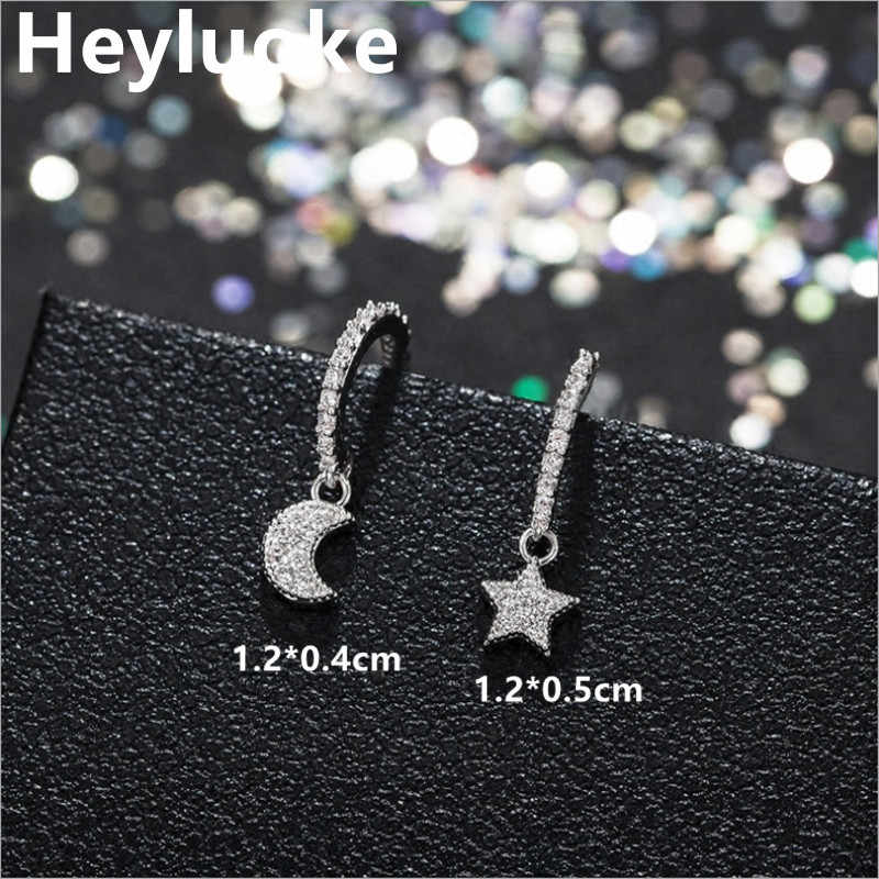 Petite Korean Style 925 Sterling Sliver Small Mini Cute Luxury Moon Star CZ Stud Earrings for Women female Studs Silver Jewelry