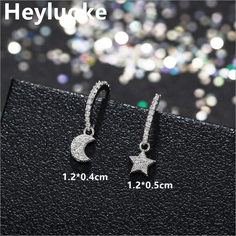 Cute Petite Korean Style Tibetan Sliver Small Mini Cute Luxury Moon Star CZ Stones Stud Earrings for Women female Studs Jewelry