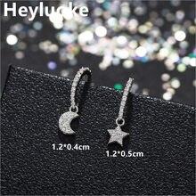 Petites boucles d'oreilles tibétaines argentées pour femmes, bijoux de luxe en forme de lune et d'étoile, Style coréen