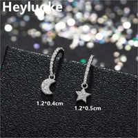Petite Korean Style 925 Sterling Sliver Small Mini Cute Luxury Moon Star CZ Stud Earrings for Women female Studs Silver Jewelry