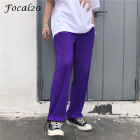Focal20 Harajuku Pleated Solid Color Drawstring Female Pants Trousers High Waist Loose Summer Spring Women Trousers Pants