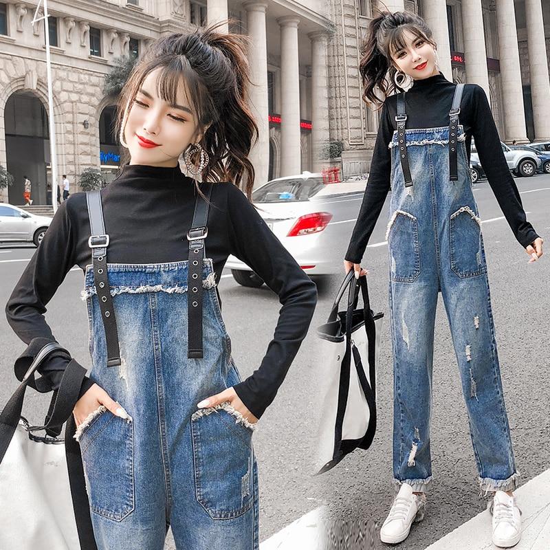 Real Shot Playful Denim Bib Female Spring And Autumn New Korean Students Loose Nine Pants Wide Leg Jumpsuit 911#