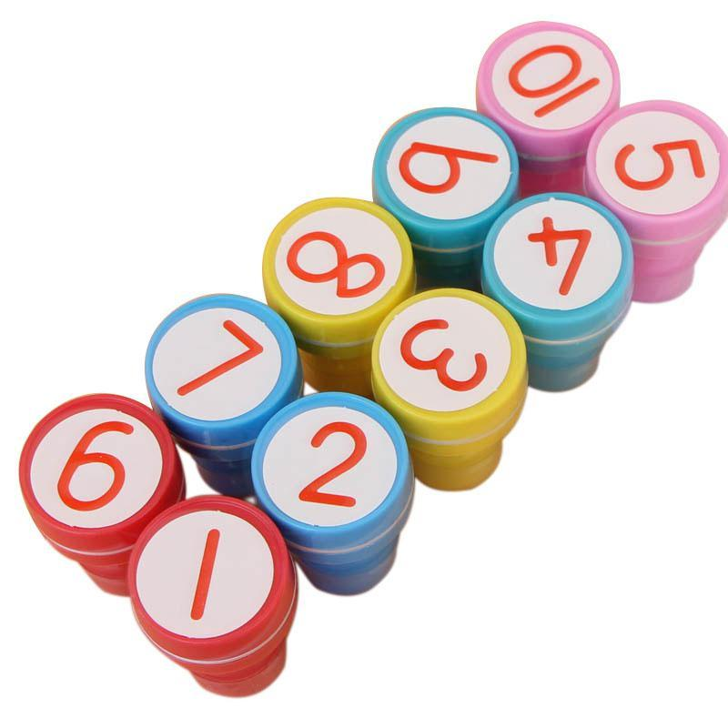 Adeeing 10 ensembles 1-10 numéros en caoutchouc timbre ensemble enfants mignon en plastique auto encreur Stamper jouets bébé bricolage artisanat