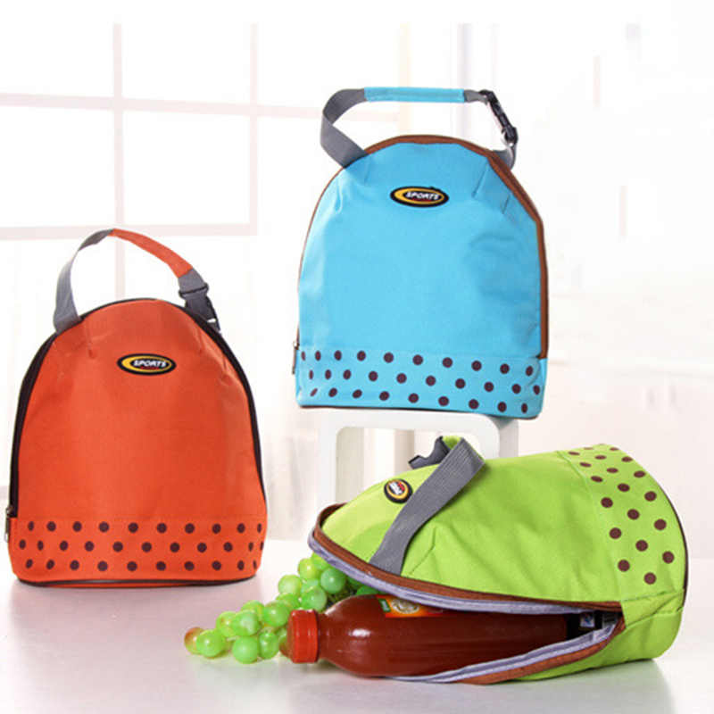 e9f980ff44def5 1PCS Oxford Cloth Hand Carry Lunch Bag Thickened Polka Dot Cooler Bag  Picnic Protable Ice Bags