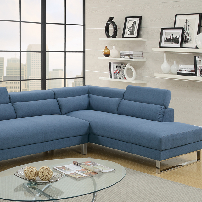 Marvelous Polyfiber 2 Piece Sectional On Metal Base Blue In Living Ibusinesslaw Wood Chair Design Ideas Ibusinesslaworg