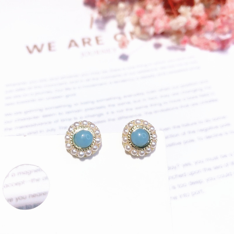 Cute Korean Style Woman's S925 Silver Vintage Pearl Stud Earrings With stone Bijoux Jewelry Accessories