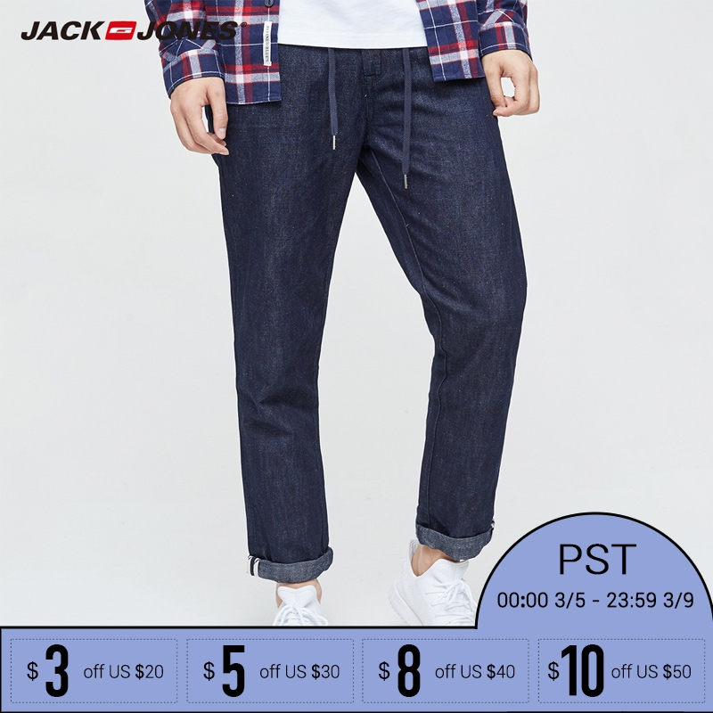 Jack Jones Brand 2018 NEW Denim font b slim b font plaid medium pants ankle length