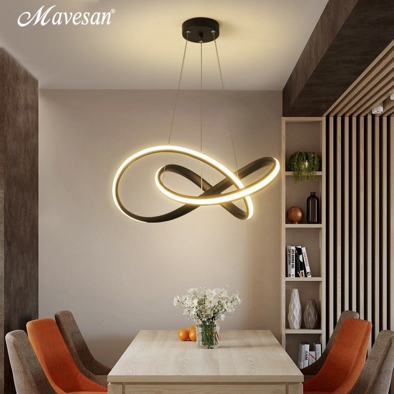 Kitchen LED Pendant Lights White Black For Shop Bar Dining Aluminum Body Dimmable With Remote Control Pendant Lamps AC85-260V