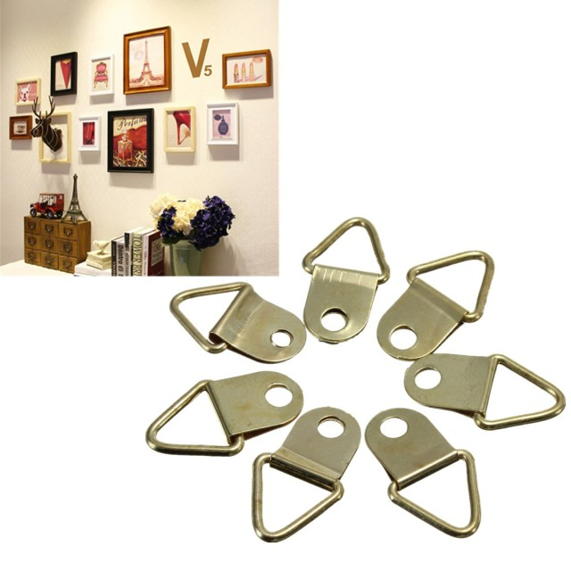 100Pcs Universal Strong Golden D Rings Decor Picture Frames Hanger ...