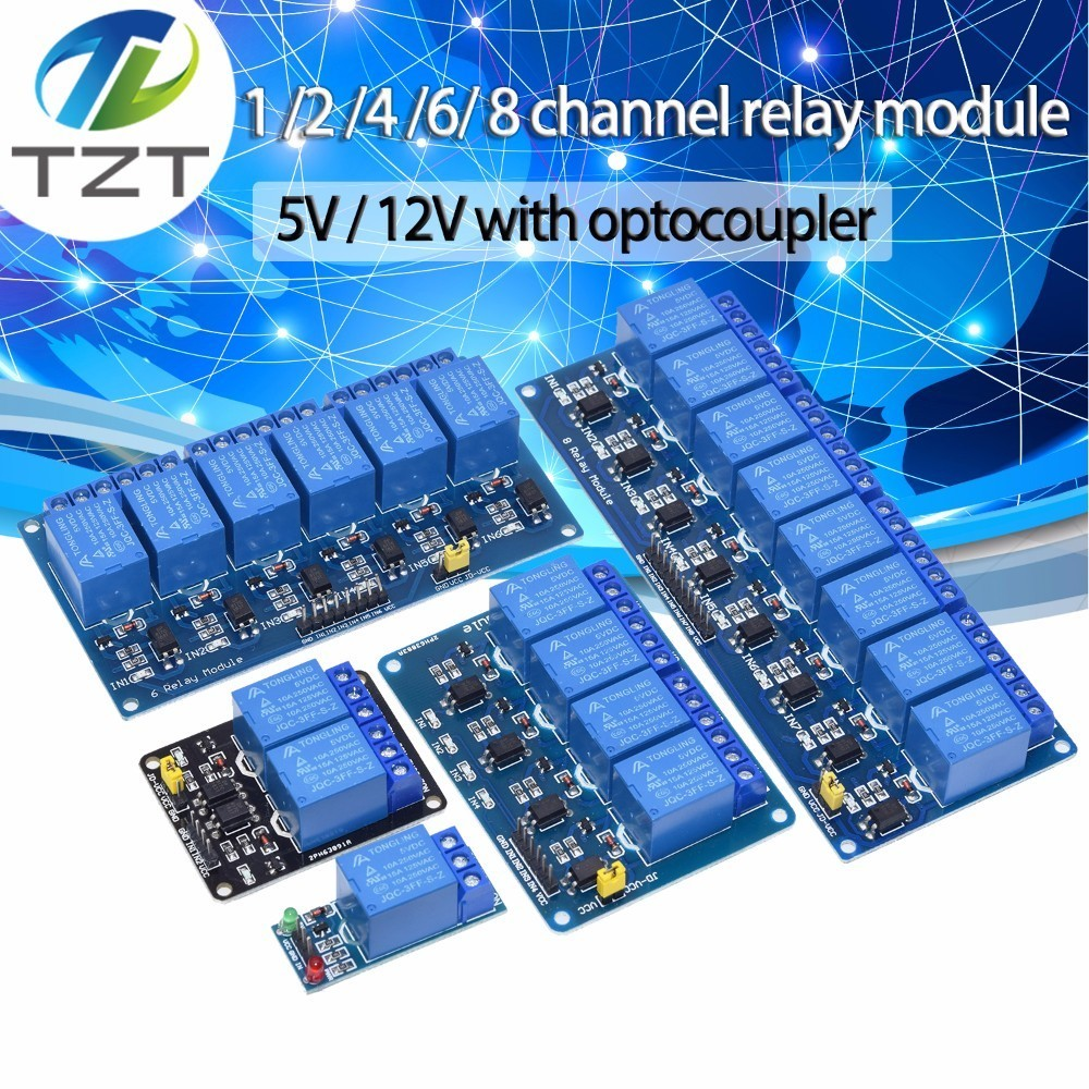 TZT 5v 1 2 4 6 8 Channel Relay Module With Optocoupler. Relay Output 1 /2 /4 /6 / 8 Way Relay Module 12V  For Arduino Blue