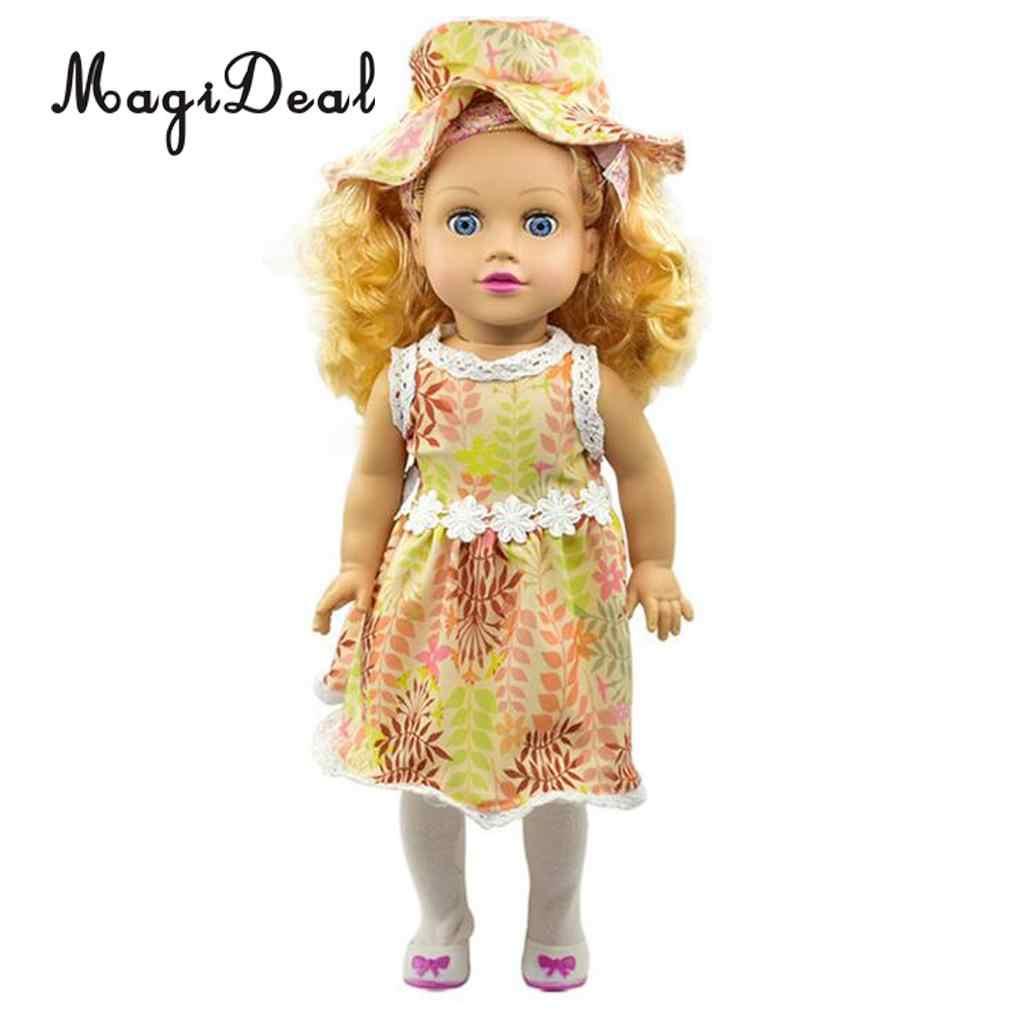 ファッション人形の衣装の人形の服ドレススカート & マッチングボウラー帽子スーツ 18 インチの人形の服アクセサリー
