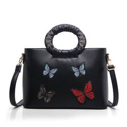 Вышитая бабочка сумка винтажная деревянная ручка Сумка-тоут с животным принтом женская сумка на плечо роскошный дизайн женские сумки оптом