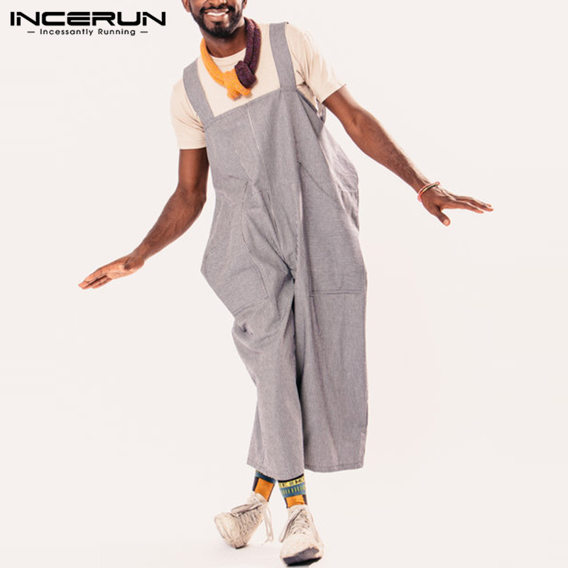 INCERUN 2019 Fashion Stripe Men Jumpsuits Casual Overalls Straps Pockets Trousers Hip-hop Rompers Loose Men Women Wide Leg Pants