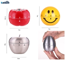 Newly Timer Mechanical  Cute Apple egg tomato Kitchen Cooking Timer Alarm 60 Minutes  360 Degree Stainless Steel Fruit Shape e74 cute 60 minute ladybug timer easy operate kitchen useful cooking timer ladybird shape