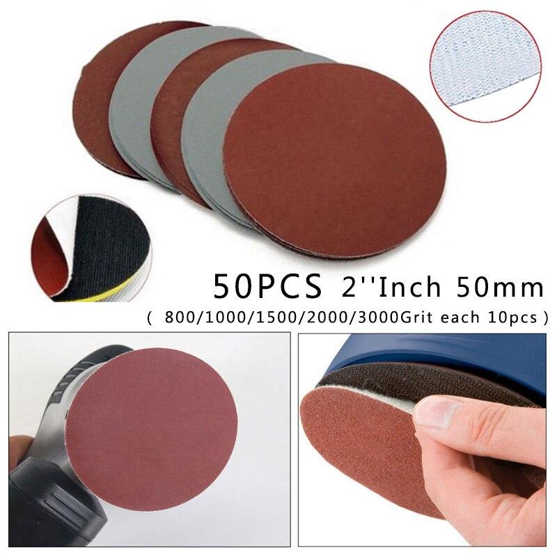 50x Hook&Loop 2 5cm 800-3000 Grit Sand Paper Sanding Discs Grinding Polishing
