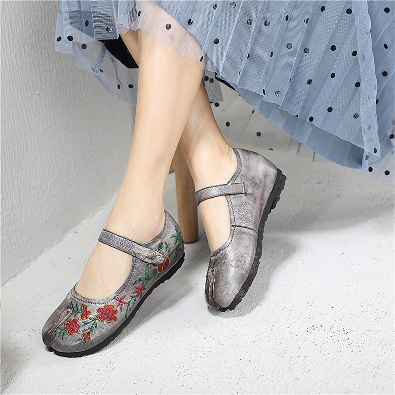 Chaussures Mary Femmes Cuir De Plat D'été Gris Ballet Slipona Mocassins Jane Appartements Espadrilles En Printemps 2019 chocolat Broderie WWEUO