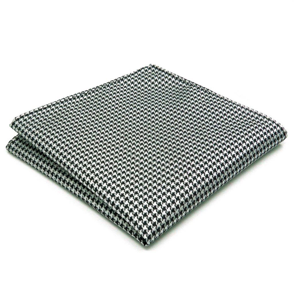 JH20 Mens Pocket Square Houndstooth White Black Classic Hanky Silk Fashion Dress