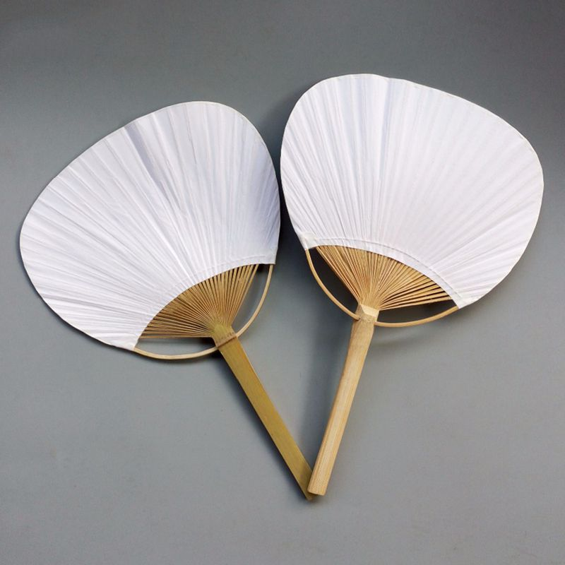 opening promotion-20pcs Pure white bamboo handle blank calligraphy painting group fan