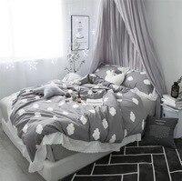 Облако девочек сердце хлопкового кружева ажурные постельные принадлежности набор комплект постельного белья плед двуспального размера ко