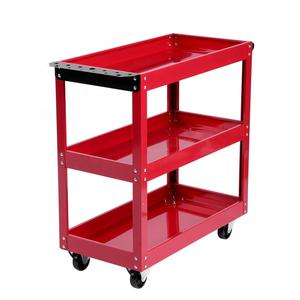 Image 4 - 3 Tier Storage Shelves Tools Cart with 360 Degree Free Rotation Wheels for Workshop Garage Use