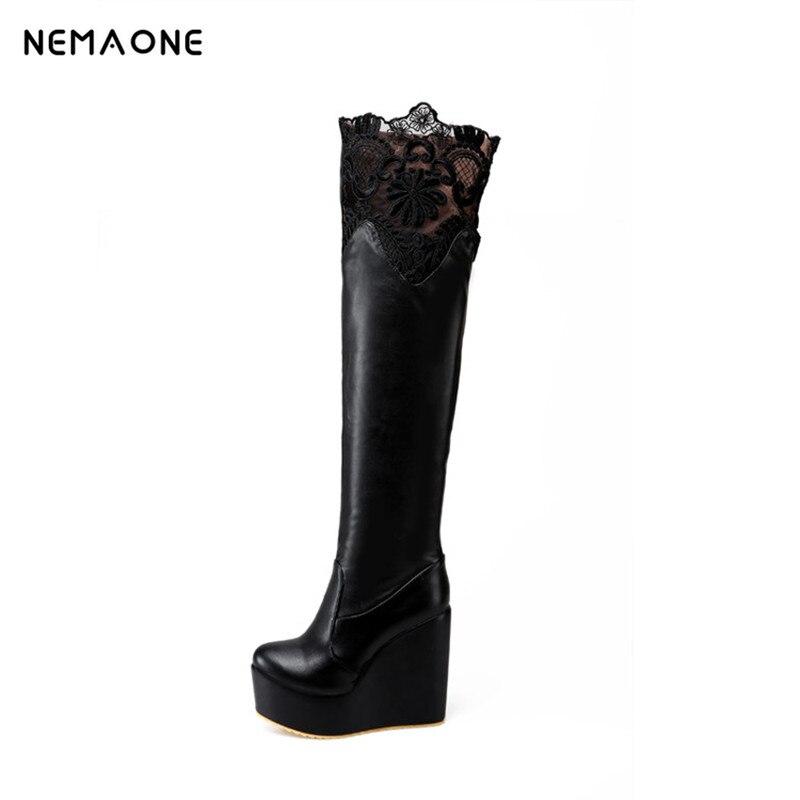 NEMAONE Sexy Slim Women s Wedges Over the Knee Boots Brand High Heels Platform Boots Slip