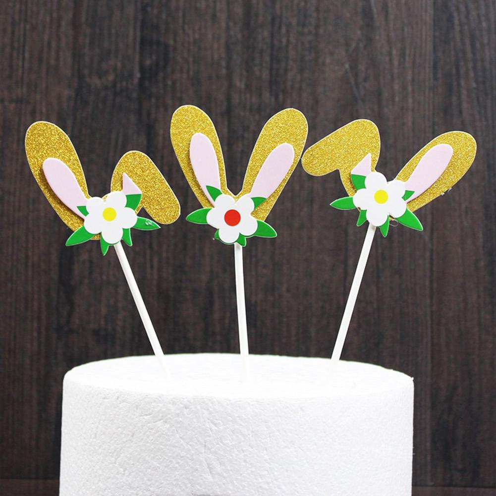 3Pcs Happy Easter Rabbit Bunny Ears Glitter Powder Party Holiday Wedding Cake  Supplies Decoration Toppers Ornament Decor