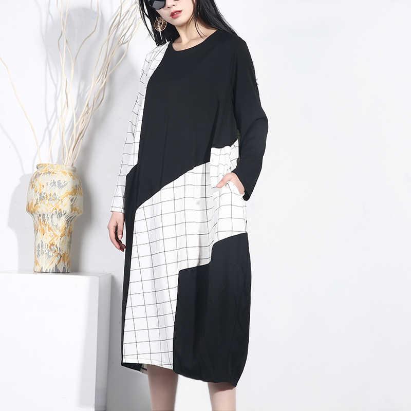 LANMREM 2019 новая футболка контрастных цветов клетчатое лоскутное нерегулярное платье для женщин большого размера свободное женское платье Весна длинный рукав JO361