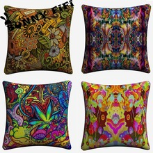 Psychedelic Totem Soft Cotton Linen Cushion Covers 45x45cm Vintage Pillowcase For Sofa Home Decoration цены