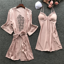 2019 New Sexy Fashion Pajamas Woman Robe Set Ice Silk Long Sleeve Pijama 2 Pcs Hollow Desigen With Chest Pad Sleepwear