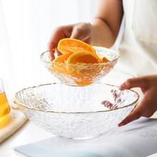 Glass Golden Edge Salad Bowl Household Food Fruit Bowl Dessert Tableware